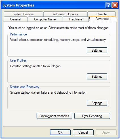 Windows XP advanced system properties