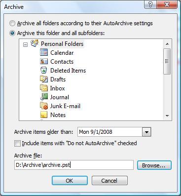 Archive PST file content