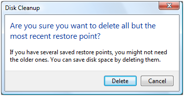 Confirm deletion of restore points