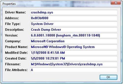 DriverView driver properties