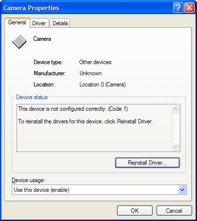 Device error code 1