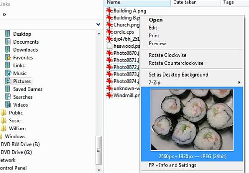 Preview images in popup menu