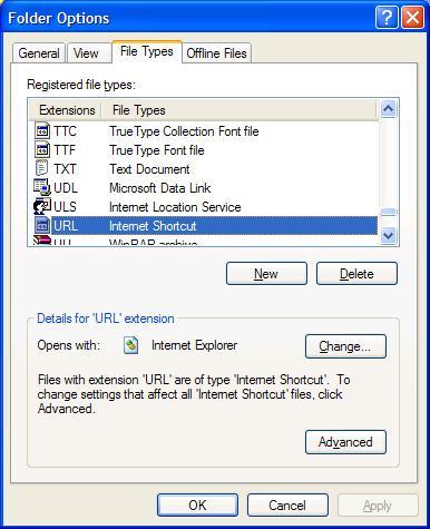 Windows URL file-type association