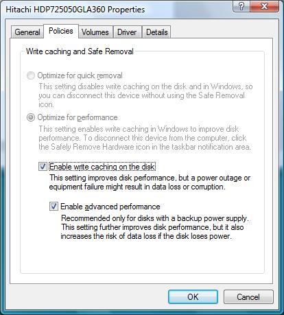 Vista hard disk policies
