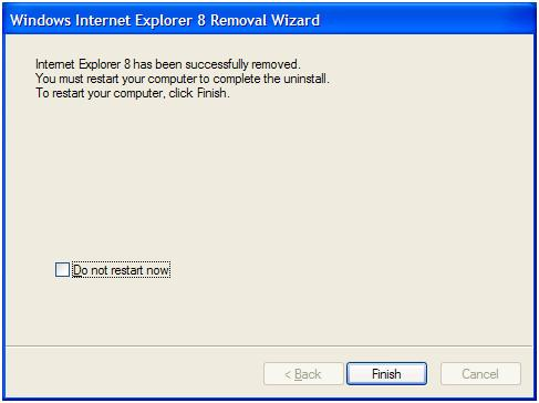 IE8 uninstall complete