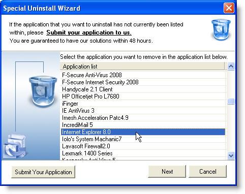 Internet Explorer 8.0 uninstall