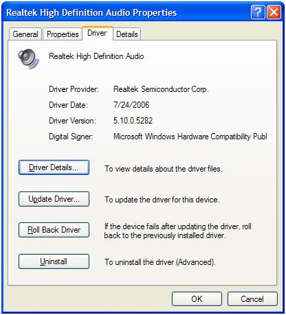 Audio device driver details