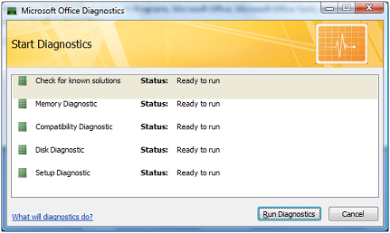 Office 2007 diagnostics