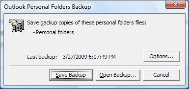 Outlook PST backup