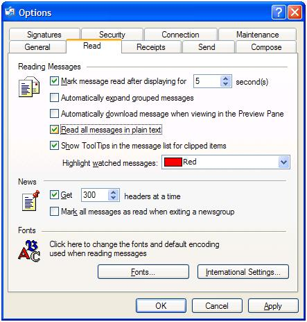 Read messages in plain text