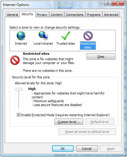 Restricted sites to protect Outlook Express