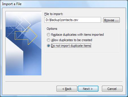 Microsoft Outlook Import