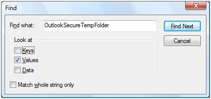 Find Outlook temp folder in registry