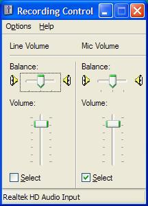 Recording control in Windows XP