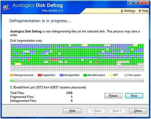 Disk defrag progress