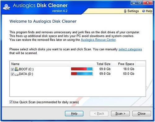 Disk Cleaner interface