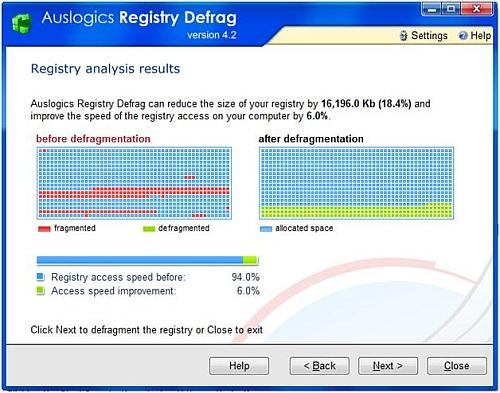 Registry defrag and compact