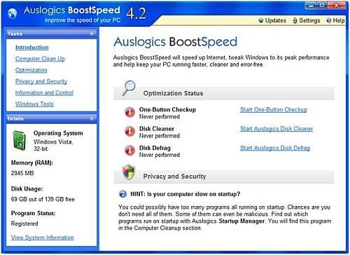 BoostSpeed main screen