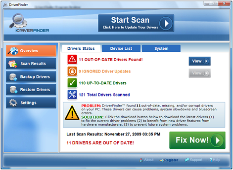 DriverFinder Scan Results