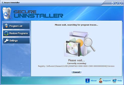 Secure uninstaller scanning