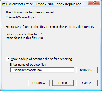scanpst.exe outlook 2007 missing
