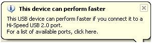 Slow USB device message