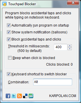 Temporarily disable touchpad