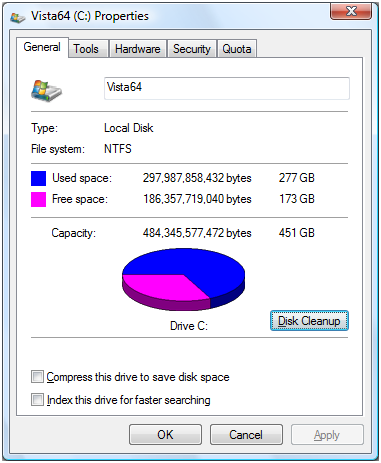 Free up disk space in Vista