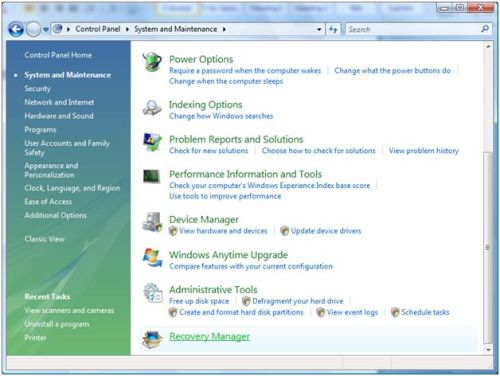 Vista Recovery Manager
