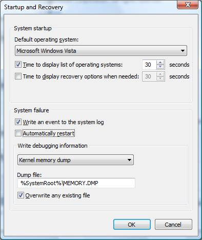 Windows Startup and Recovery settings
