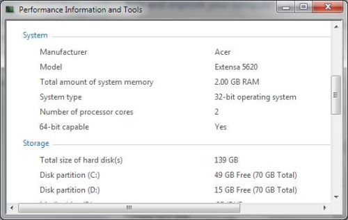 Windows Vista System Information