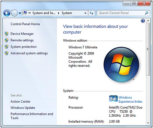 Windows 7 System Control Panel