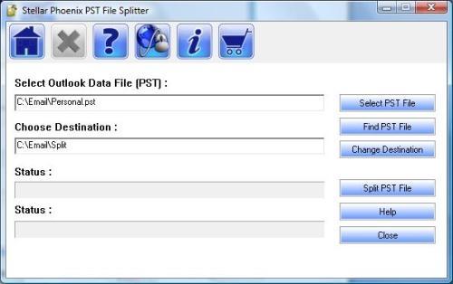Select pst file to split