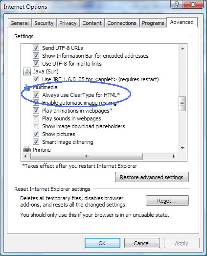 IE7 - Disable ClearType