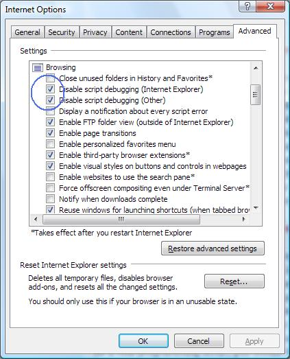 IE7 disable debugging