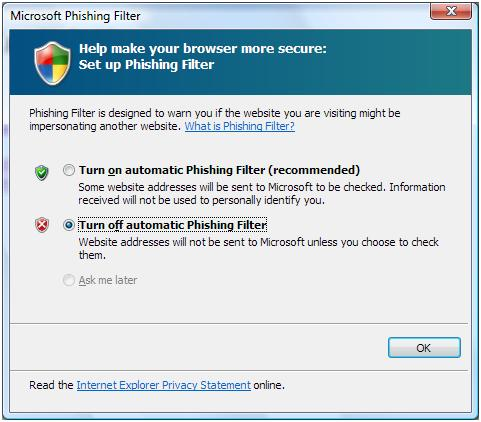 IE7 - Disable Phishing Filter