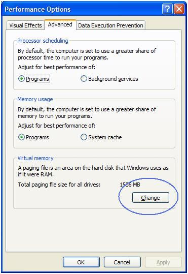 Change XP virtual memory