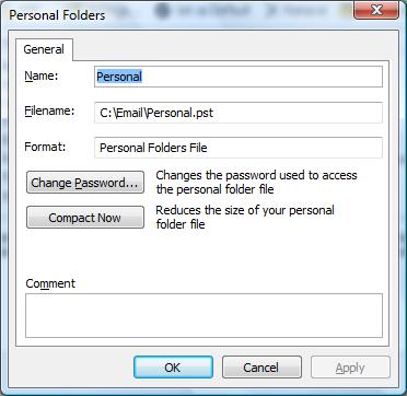 Reduce outlook pst size