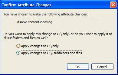 Disable indexing on all subfolders and files