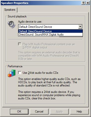 Windows DirectSound device