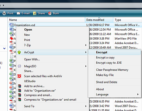 Encrypt file in Windows