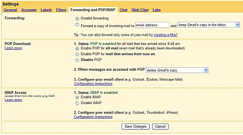 Gmail settings for POP access