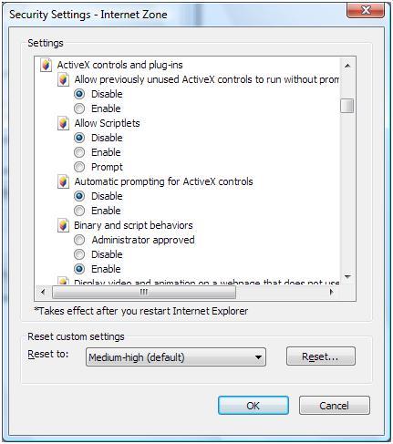 IE7 Security Settings
