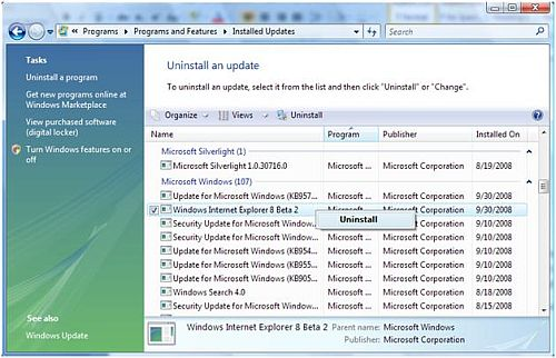 Uninstall IE8 from Vista