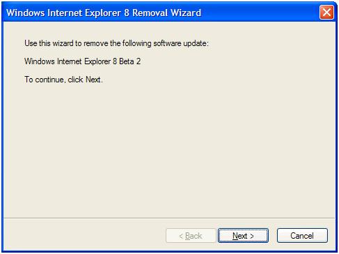 IE8 uninstall wizard