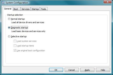 Windows diagnostic startup