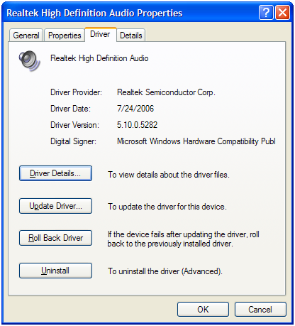 Audio device driver details