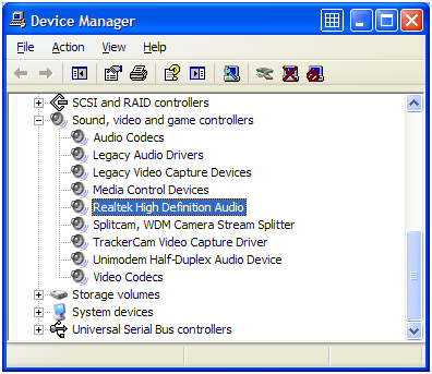 Audio device in Device Manager