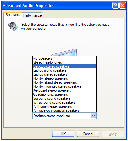 Windows speaker configuration