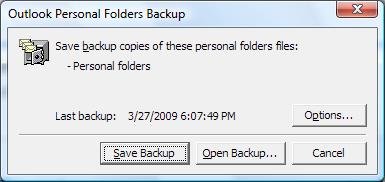 Outlook PST backup